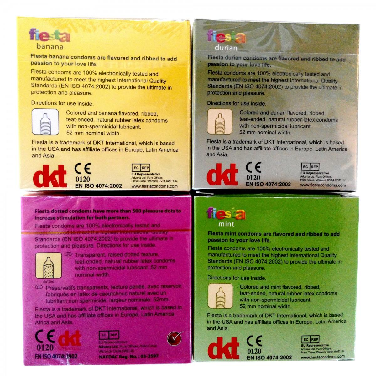Fiesta Condom Ribbed Flavour Set 3pcs X 4pkt Kondom Durian