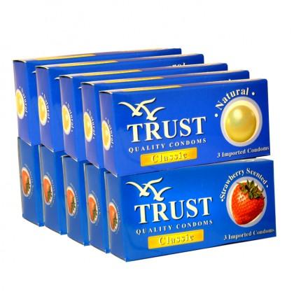 Trust Classic 5pkt + Strawberry Scented 5pkt Condom 30pcs
