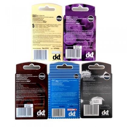 Prudence 5-in-1 Condom Box- Mix Aroma, Uva, Chocolate, Anillos, Sensitive 17's