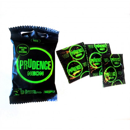 Prudence Neon Glow in the Dark Condom 3pcs