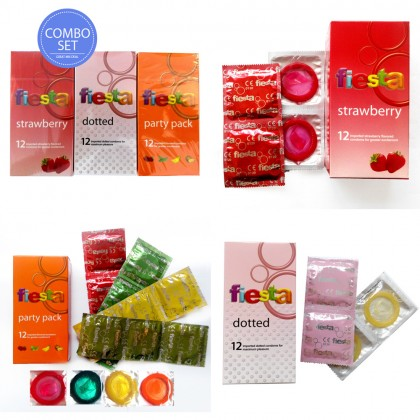 Fiesta 3-in-1 Party Pack, Dotted, Strawberry Condom 12pcs x 3pkt