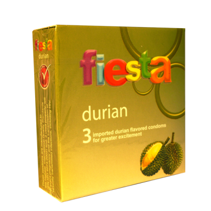 Fiesta Durian Flavour Ribbed 3pc Condoms