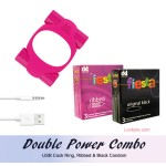 Double Power Combo - Ribbed & Black Condom, Double bullet Vibrating Ring