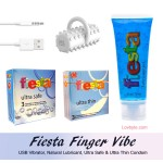 Combo Finger Massager, Fiesta Natural Lubricant, Ultrathin 3's & Ultra Safe Condom 3's